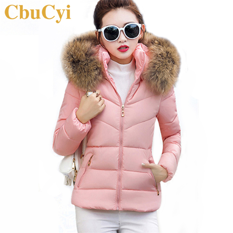 CbuCyi Muti-colors Winter Parka Women Short Jacket Coat Faux Fur Collar Hooded Padded Jackets Girls Warm Thick Slim Parkas Coats 2017 women jackets and coats solid slim large fur collar hooded short parkas thick jacket winter women warm coat overcoat sy003