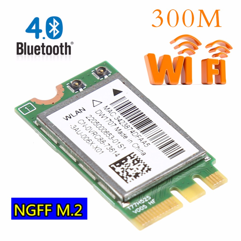 300M Wireless Bluetooth V4.0 Dual Band 2.4+5GHZ 867M Bluetooth V4 WIFI WLAN Card For Dell DW1707 VRC88 Qualcomm Atheros QCNFA335