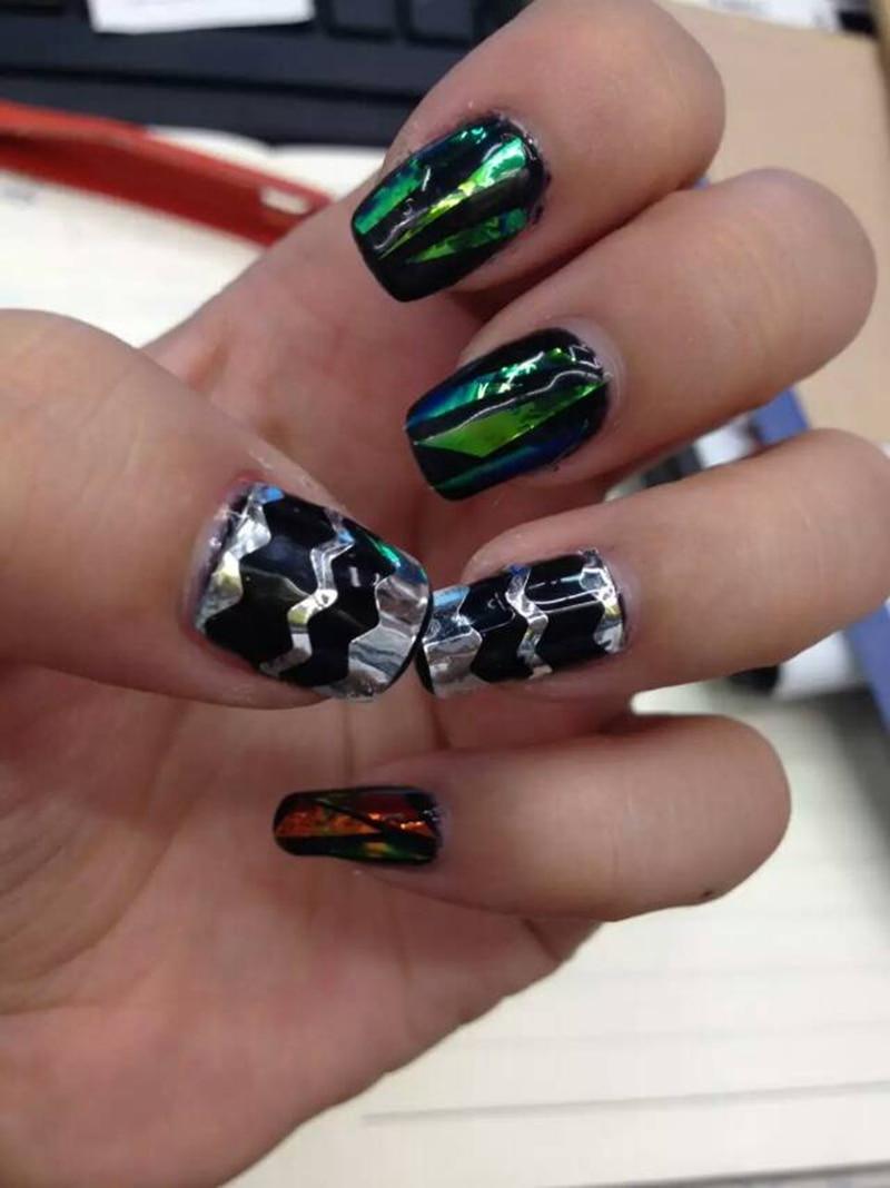 5 Design Choice Aurora Nail Stickers Magic Symphony Irregular Glass ...