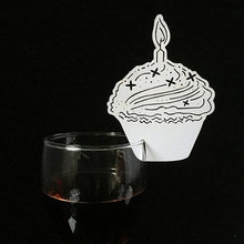 10Pcs Set Cup Card Cake Model Laser Cut Hollow Wine Glass Table Name Place Birthday Party Decorations
