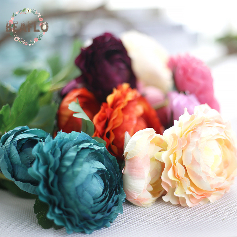 9 colours european style tea rose ranunculus diy silk flower for party home wedding decoration craft