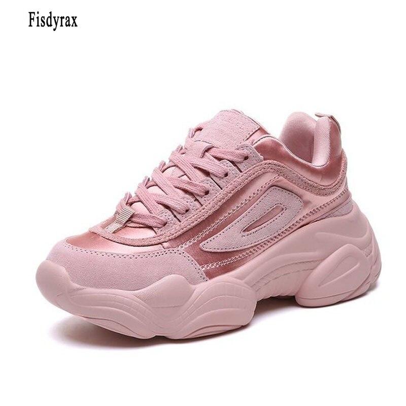 Fisdyrax femmes Chunky baskets 2018 mode Basket femmes plate-forme chaussures à lacets rose femmes baskets talon papa chaussures décontractées