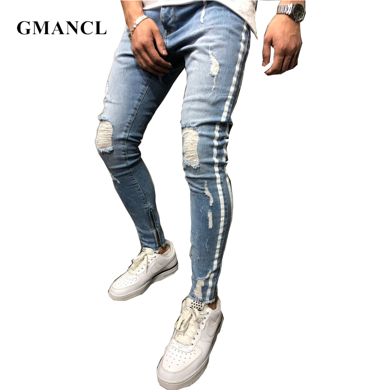 New Men High Street Hip Hop Side White Print Knee Hole Ripped Skinny Jeans Stretch Slim Ankle Zipper Joggers Biker Denim Pants