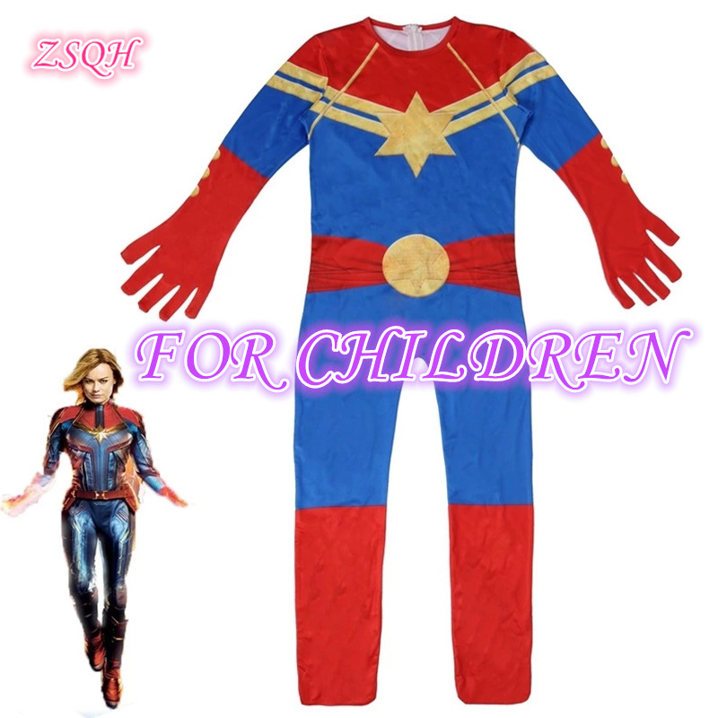 ZSQH Captain Marvel Jumpsuits Ms Marvel Carol Danver Cosplay Costume for Kids Children  Girls Bodysuit Halloween Suit Rompers