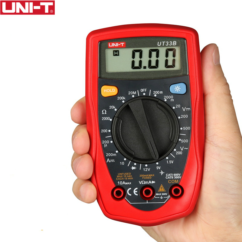 UNI-T UT33B Digital Multimeters Current AC DC Voltage Resistance Diode Battety Test LCD Backlight Full Measure Palm Size Meters