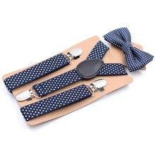 Подвеска для детей с зажимом и галстуком-бабочкой; Повседневный Модный милый детский комплект в горошек; вечерние комплекты для маленьких мальчиков и девочек