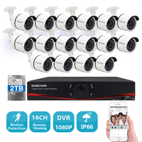 SUNCHAN 16CH 2 0MP DVR CCTV System 16 1 3MP 960P Security Cameras AHD DVR KIT