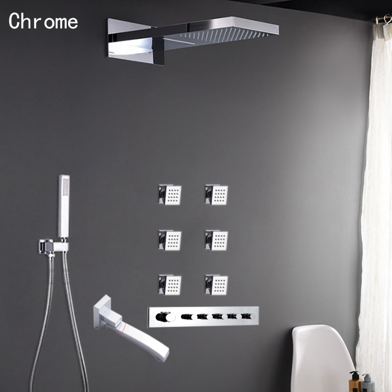 Conjunto de cabezal de ducha cromado negro válvula mezcladora de termostato 5 vías cascada de lluvia latón baño ducha cuerpo masaje grifo de Spray