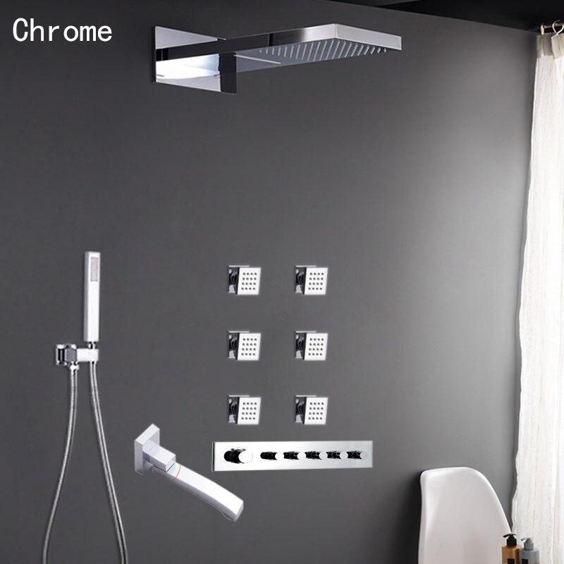 € 648.24 5% de réduction|Ensemble de pommeau de douche chromé noir  Thermostat mélangeur vanne 5 voies pluie cascade laiton salle de bains  douche corps ...