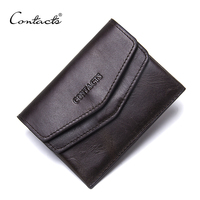 CONTACT S Men 100 Genuine Leather Small Coin Purse Women Mini Coins Bags Slim Wallet Brand