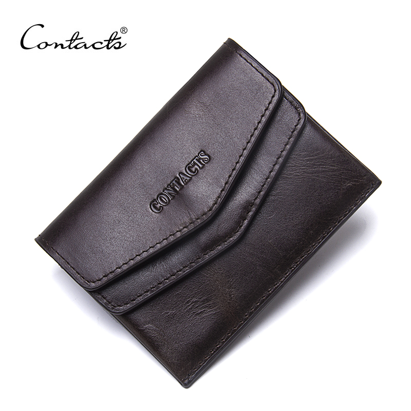 CONTACT'S Men 100% Genuine Leather Small Coin Purse Women Mini Coins Bags Slim Wallet Brand Designer High Quality Cowhide Bag 2017 genuine cowhide leather brand women wallet short design lady small coin purse mini clutch cartera high quality