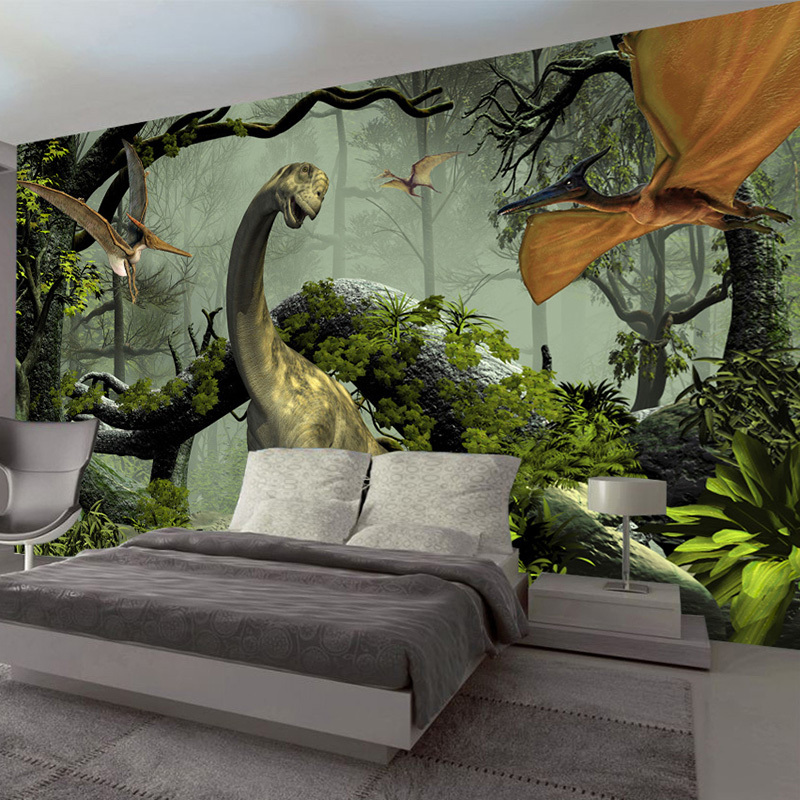 Custom Photo Wallpaper 3D Stereo Dinosaur Theme Large Murals Primitive Forest Living Room Bedroom Backdrop Decor Mural WallPaper free shipping green apple 3d floor stereo non slip wear custom anti skidding living room bedroom wallpaper lobby mural