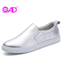 GAD Women Leather Loafers 2017 Autumn Round Toe Slip On Comfortable Ballet Flats Women Driving Shoes