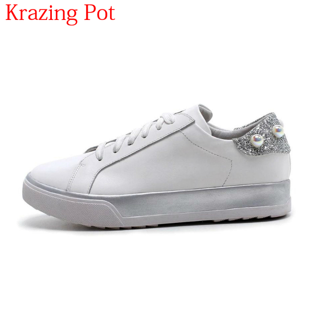2018 Sweet Genuine Leather Platform Lace Up Pearl-studded Sneakers Bling  Casual Shoes Retro Increased 0aaced75b1