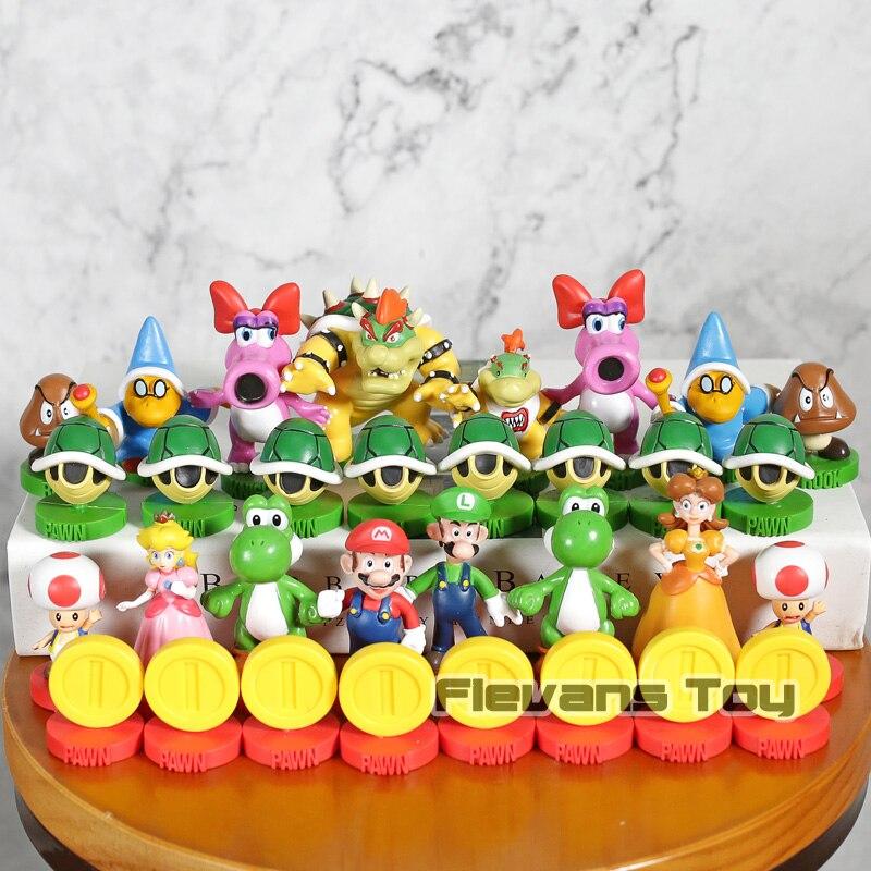Super Mario échecs édition Collector Mario Luigi crapaud pêche Yoshi Bowser figurines PVC modèle jouets 32 pièces/ensemble