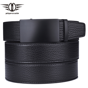 Plyesxale Genuine Leather Belts Men High Quality Automatic Buckle Belts For Men Girdle Wide Male Belt Cinturones Hombre B14 cowskin leather smooth buckle belts for men high quality double v buckle male strap famous brand genuine leather men belt