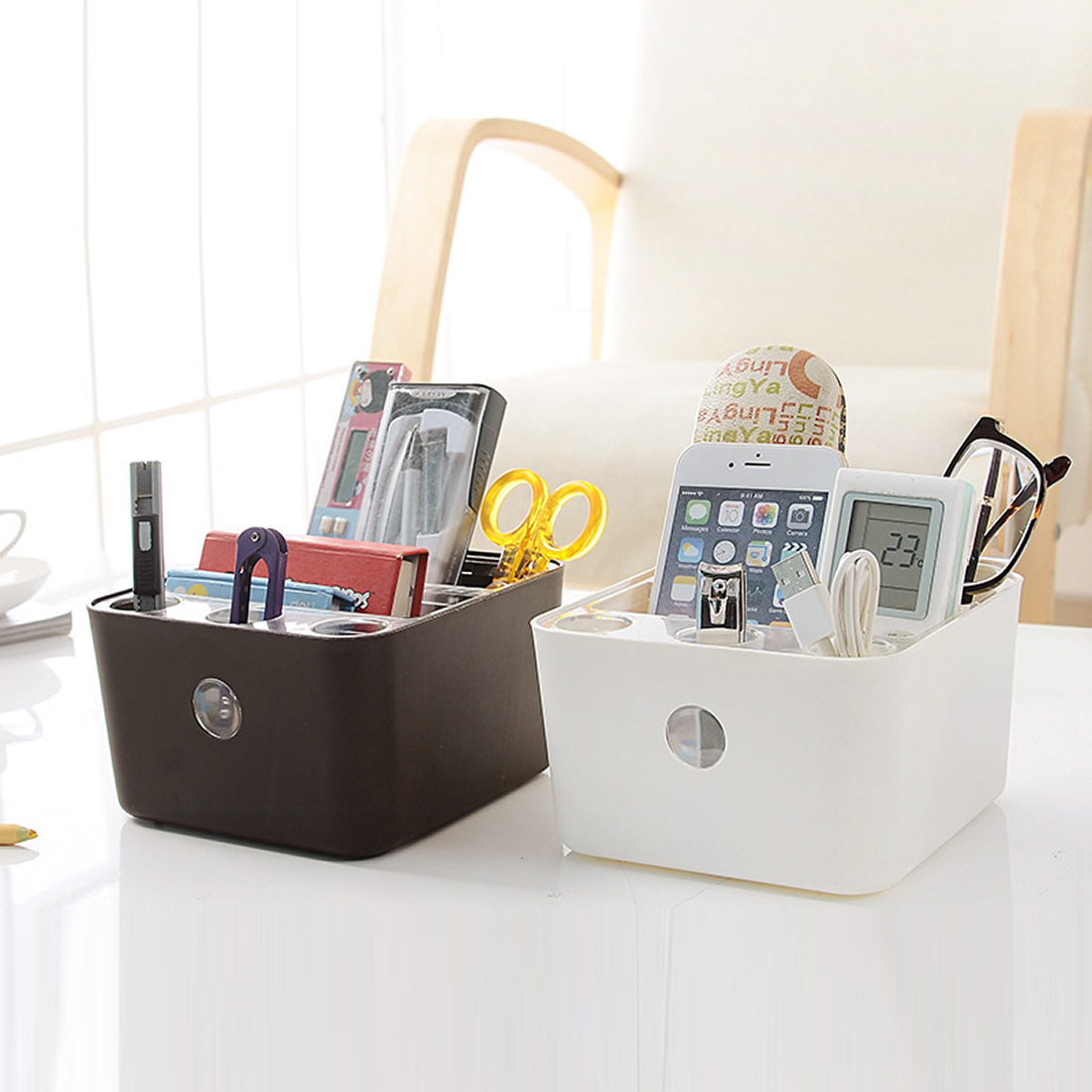 Plastic Storage Box Cosmetic Jewelry Organizer Office Storage Desk Makeup Case Plastic Makeup Brush Boxes Remote Control Holder