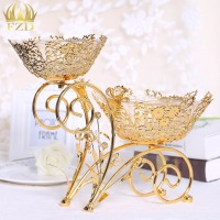 1 Piece Golden Plate Metal Crystal Serving Tray Compote Cakes Desserts Candy Plate Decorative For Wedding
