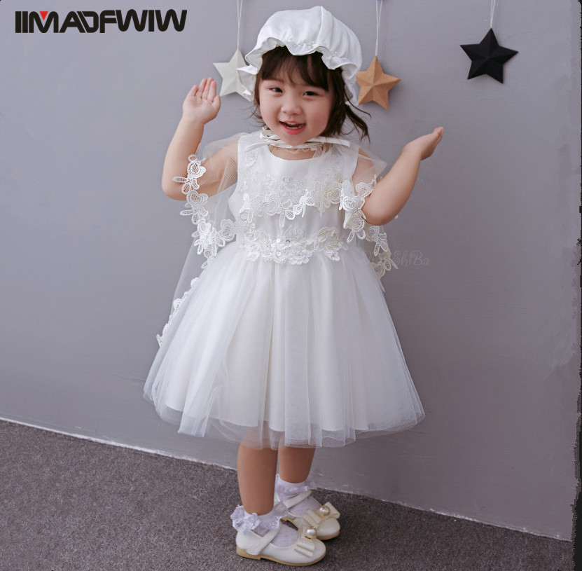 2017 New Baby Dress Hundred Days Infant Cotton Dress Princess Girls Set Dress + Cloak + Cap Color White For Spring Summer 0cm in diameter large space baby hand footed printing mud set newborn baby hand and foot print hundred days old gift souvenir