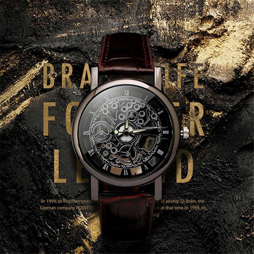 Business Man Watch Luxury Hollow Men's Watch Leather Men Watch Imitate Mechanical Wristwatch Quartz Male Clock Relogio Masculino