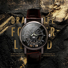 Business Man Watch Luxury Hollow Men's Watch Leather Men Watch Imitate Mechanical Wristwatch Quartz Male Clock Relogio Masculino цена