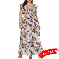 Plus Size Ruffle Sleeveless Floral Print Women Long Maxi Dress 4XL 5XL 6XL Summer Ruffles Deep V Neck Dress