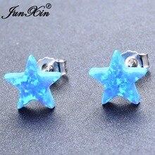 JUNXIN White/Blue Fire Opal Cute Star Stud Earrings Fashion 925 Sterling Silver Filled Small Earrings For Women Unique Jewelry