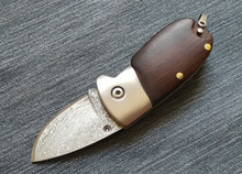 Rosewood handle Damascus steel blade  knife folding pocket knife Manual outdoor portable folding knife utility knife