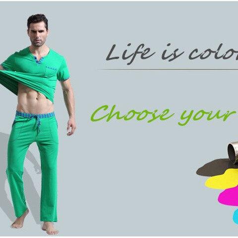 WJ Men Cotton Pajamas Set Sleepwear Bottoms Long Pant Casual Wear Short-Sleeved Shirt Leisure Suit (for a Suits) Karachi