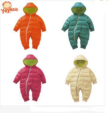 2016 Nova 0-2 Anos de Inverno Macacão de Bebê Menino de Algodão Acolchoado um Pedaço Do Bebê da Menina Roupas 4 Cores Crianças Snowsuit Crianças casaco