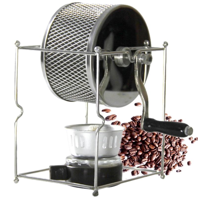 Stainless Steel Coffee Roaster Manual Hand-operated Rotary Gas Alcohol Stove Bean Baking Maker Espresso Machine Kahve Makineleri(China)
