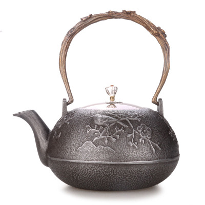 Copper cover cast iron pot Japanese-style raw iron teapot uncoated original iron hand iron pot Chinese style Health kettle