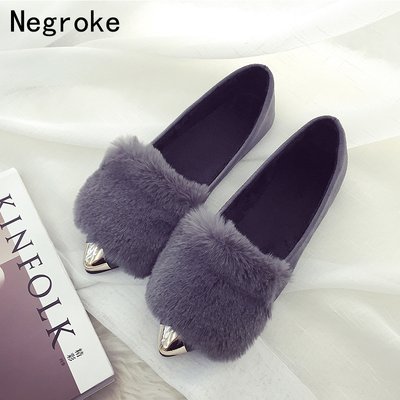 5dbf13d894fd Tip Toe Women Shoes Shallow Mouth Flats Metal Toe Cap Plush Scoop Shoes Low  Heel Rubber Sole Solid Color Peas Shoes