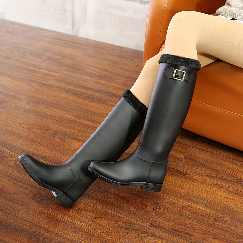 wenjie brother hot rubber rain shoes Knee high Rain Boots Buckle PU Waterproof Motorcycle lady long rain boots Woman rainy Shoes in Mid Calf Boots from Shoes