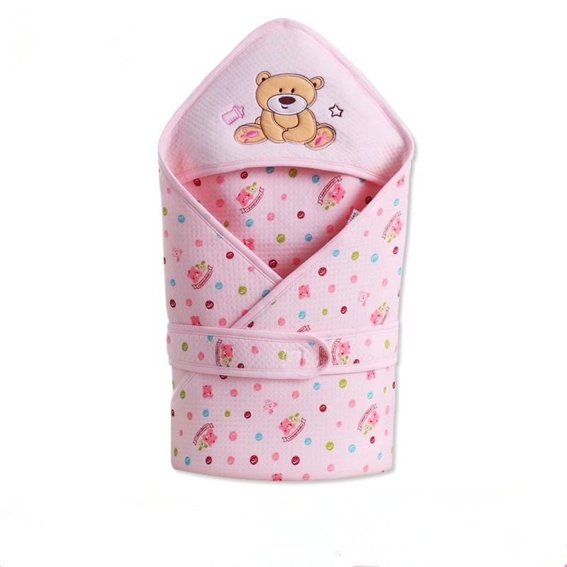 New Cartoon Bear Baby Blanket Swaddling Infant Baby 100% Cotton Sleeping Bag Envelope For Newborn Baby Bedding Wrap Sleepsack