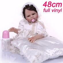 NPK 48 cm Bebe Reborn Puppen mädchen Körper Silikon Rebron Babys puppe in Edlen weißen kleid und ein kissen geschenk spielzeug lol Bonecas brinque