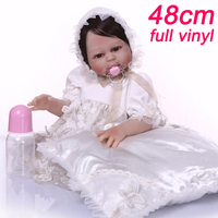 NPK 48CM Bebe Reborn Dolls girl Body Silicone Rebron Babies doll in Noble white dress and a pillow gift Toys lol Bonecas brinque