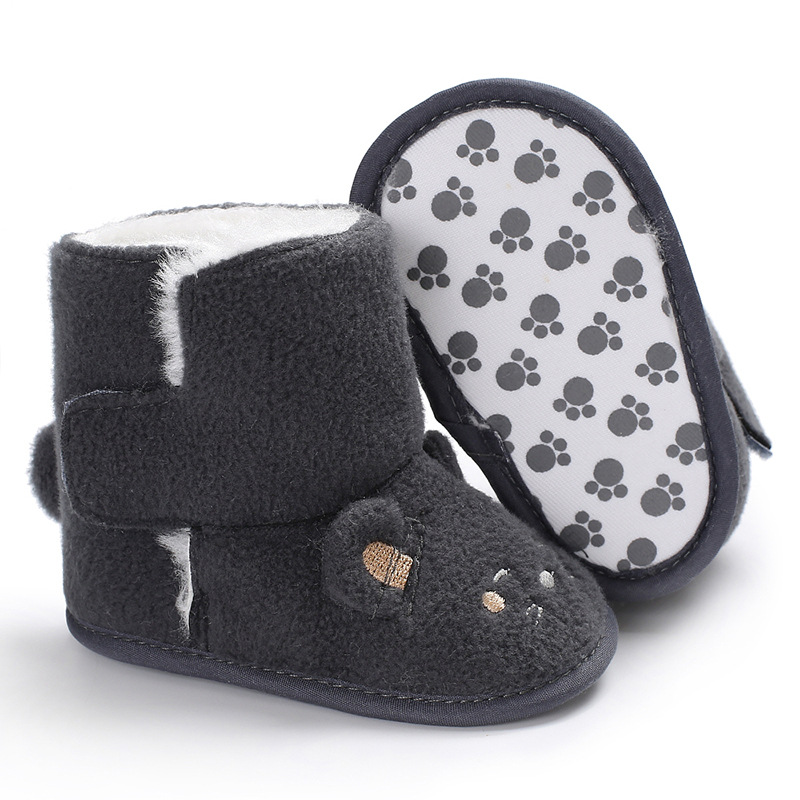 Raise Young Winter Plus Velvet Thicken Warm Baby Boots Cartoon Soft Soles Newborn Baby G ...