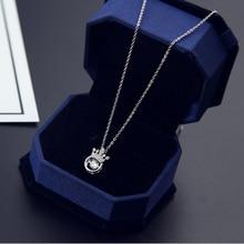 2017 Fashion Silver Crown Princess pendant necklace Classic Zircon Choker Necklaces Pendant Women Crystal Jewelry