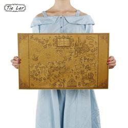 Map of The Wizarding World of Movie Posters Decoration Frameless Restoring Ancient Ways Wall Stickers 33*51CM
