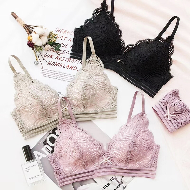 New Sexy Lingerie Thin Lace 3/4 Cup Lace Floral Bra And Panty Set Women Seamless Wire Free Push Up Lingerie Set