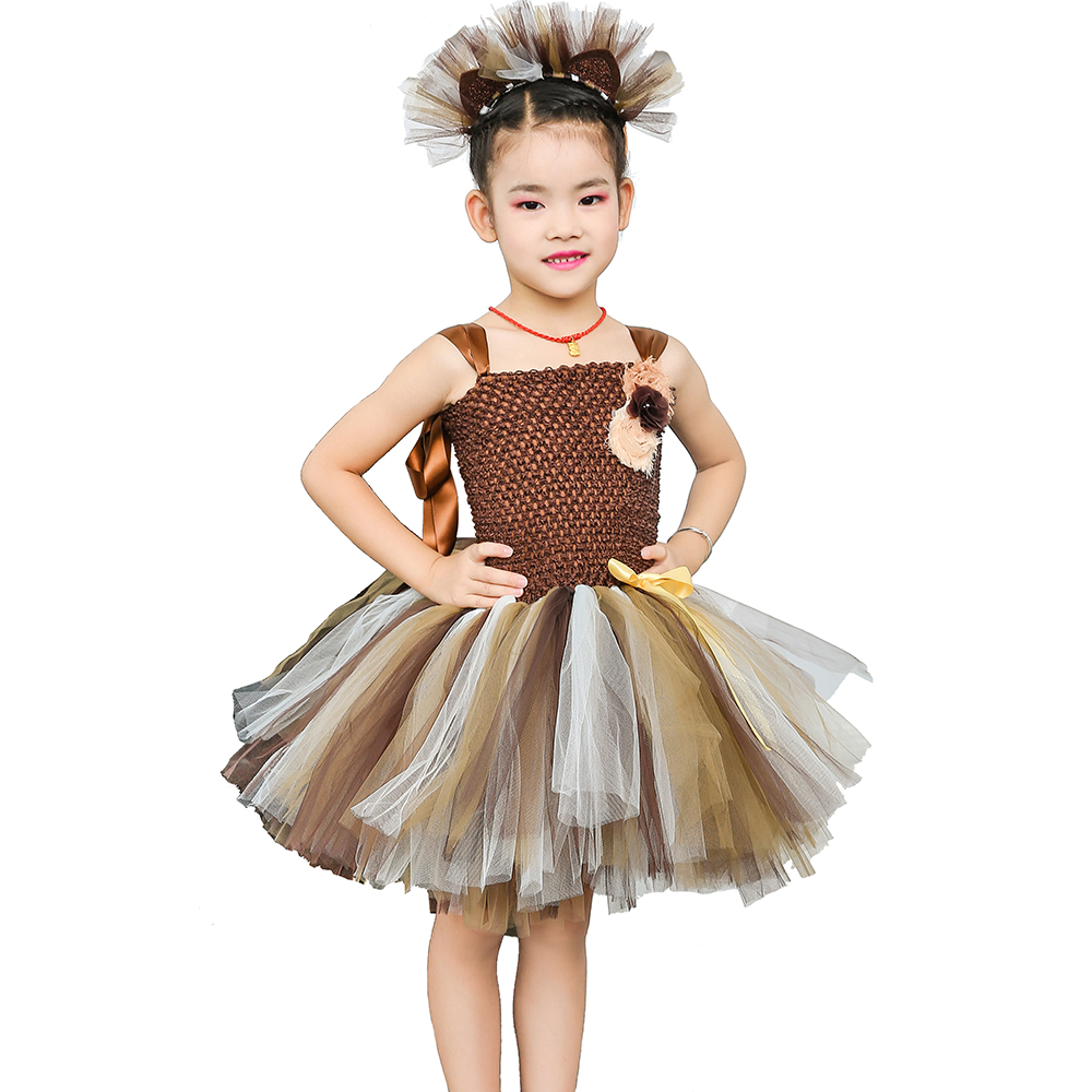 Brown Flower Girls Tutu Dress Children Cosplay Animal Lion Costume Dress Up Fancy Girl Kids Halloween Birthday Party Dress 1-14Y girls beauty and the beast cosplay ball grown kids party halloween fancy dress up outfits girls tutu full length sparkle dress