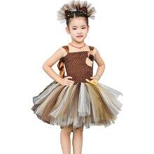 Brown Flower Girls Tutu Dress Children Cosplay Animal Lion Costume Dress Up Fancy Girl Kids Halloween Birthday Party Dress 1 14Y