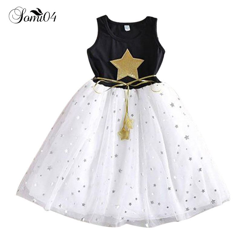 цена на Girls Dress 2018 Summer 2 3 4 5 6 7 9 10 11 12 Years Sequins Star Kids Casual Clothes Children's Party Costume Cute Girl Dresses