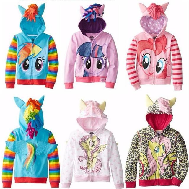 2016 Mi niña Linda pony Niños de Dibujos Animados de la Chaqueta de Los Niños Meninas Jaqueta Prendas de Abrigo y Abrigos Chaquetas para la primavera y el otoño 2-9Y