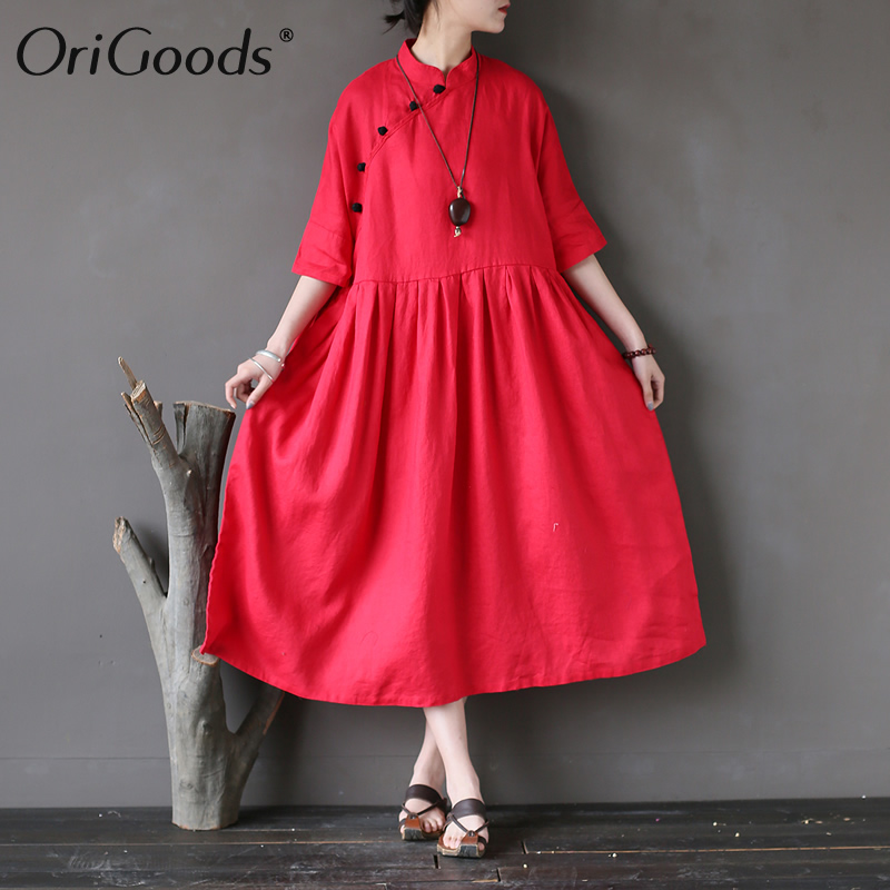 OriGoods Solid Red Green Linen Women Dress Chinese style Vintage Summer Dress Women Plus size Linen