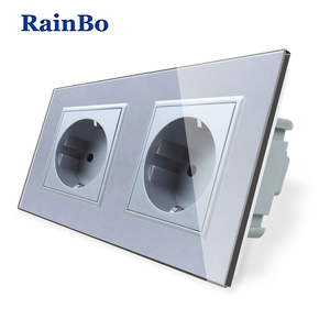 Image 2 - RainBo EU Power Wall Socket Standard Power Socket Glass Panel AC Wall Power smart outlet A28E8EW/B
