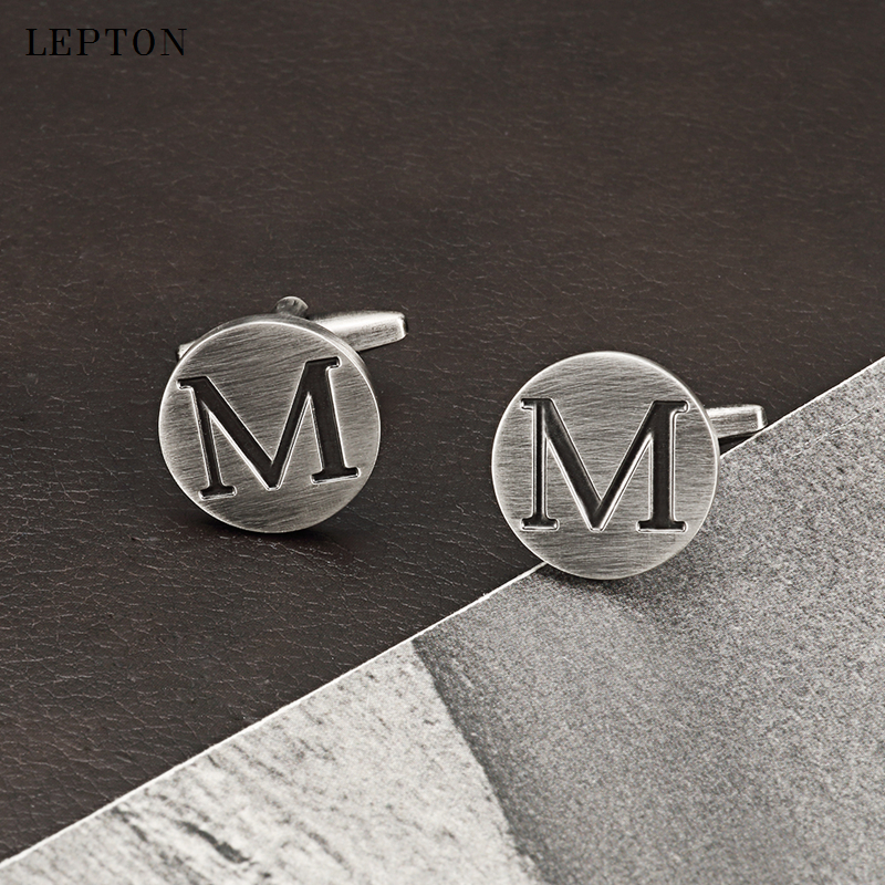 Lepton Letters M of an alphabet Cufflinks For Mens Antique Silver Plating Round Letters M cuff links Men shirt cuffs Cufflinks pair of stylish stripe pattern round shape cufflinks for men