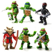 HOT! 6Pcs/lo Turtles Teenage Mutant Ninja Turtles TMNT Action Figures &  keychain  key chain Toy Set Classic Collection 5CM