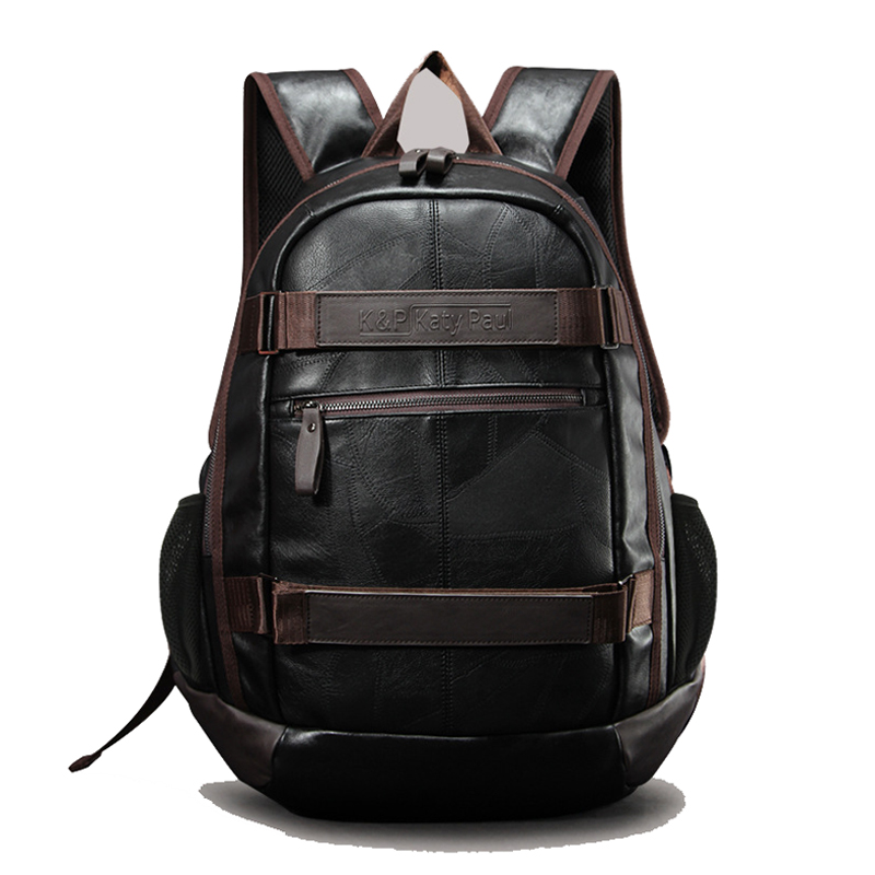 New Men s PU Leather Backpacks College Student Bag Large Capacity Computer Backpack Schoolbags Travel Bag